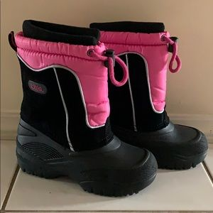 TOTES Girls Jeanie Pink/Black Boots